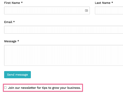 Checkbox to subscribe to newsletter