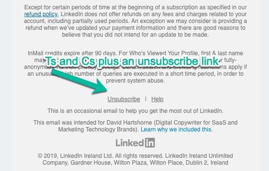 LinkedIn Unsubscribe Link Transactional vs Marketing Email