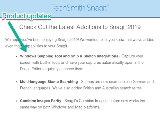 TechSmith Product Updates Transactional vs Marketing Email