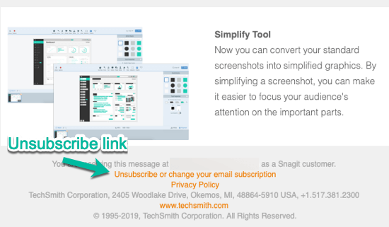 TechSmith Unsubscribe Link Transactional vs Marketing Email