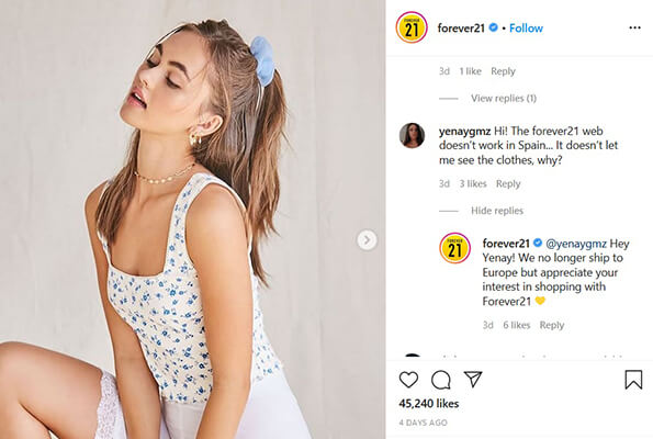 instagram brand engagement example forever21