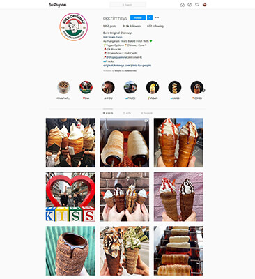 instagram food brand example chimney cake toronto