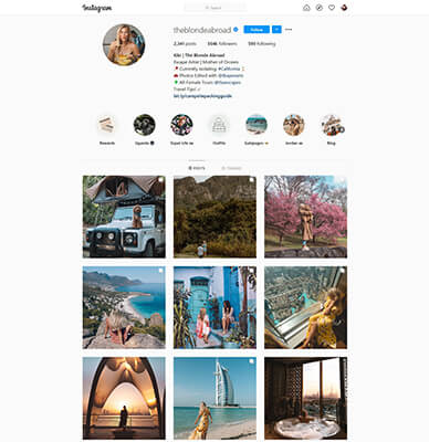 instagram travel influencer example blonde abroad