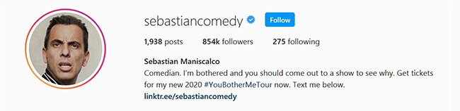 sebastian maniscalco instagram bio
