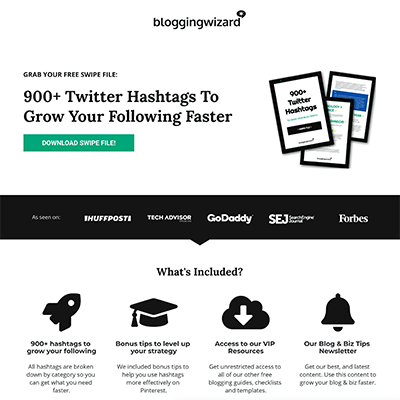 Blogging Wizard Landing Page - Twitter Hashtags