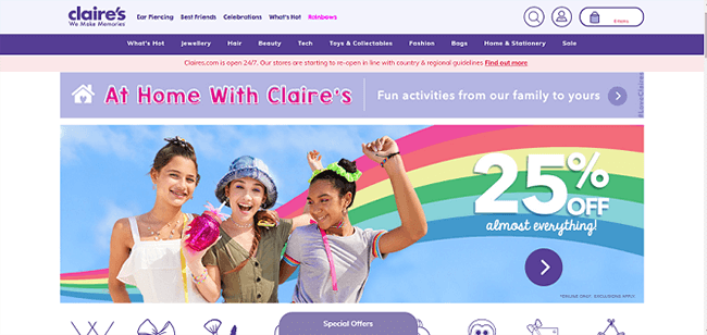 Claires Homepage Claires