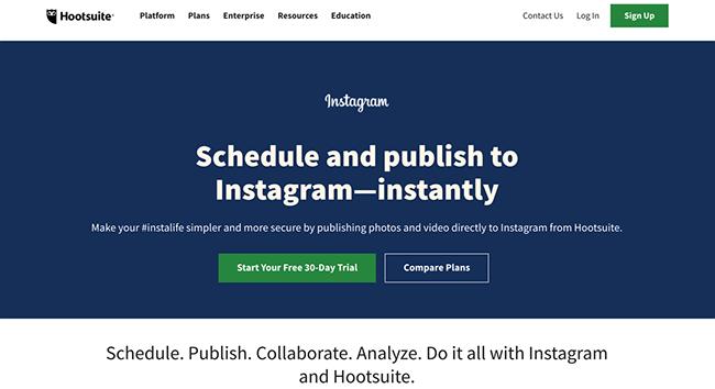 Hootsuite Instagram Scheduling Homepage