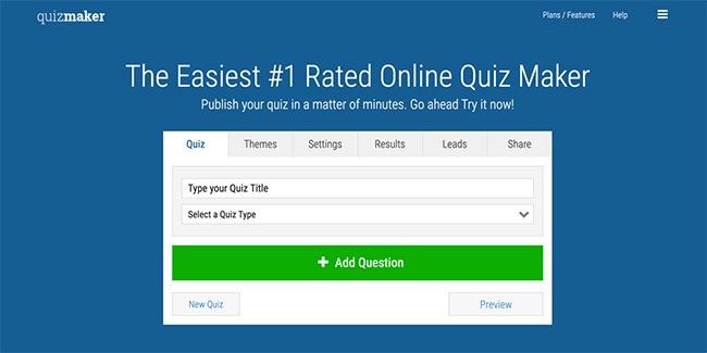 Quiz Maker Homepage
