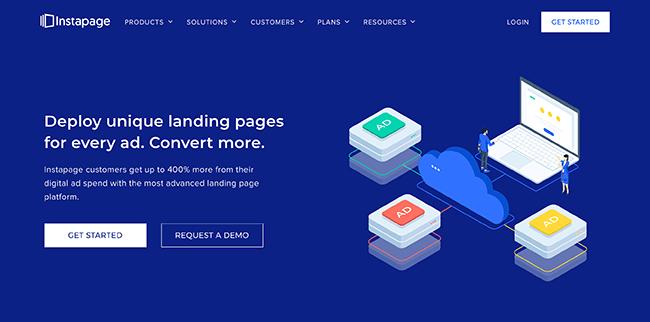 Instapage Homepage Screenshot