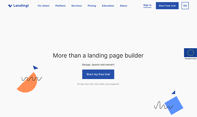Landingi Homepage Screenshot