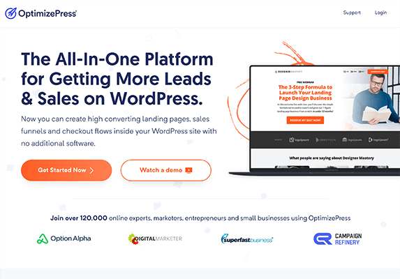 OptimizePress Homepage Screenshot