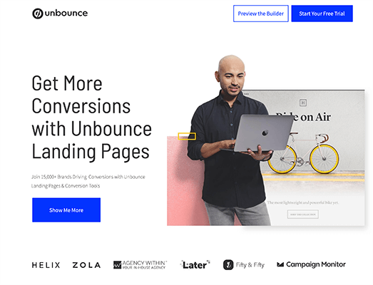 Unbounce Homepage Screenshot