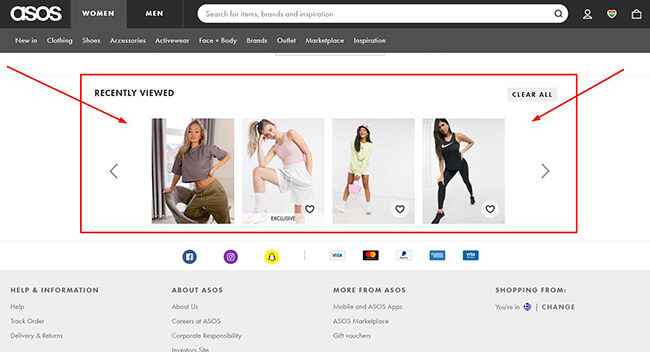 asos personalization viewed products example
