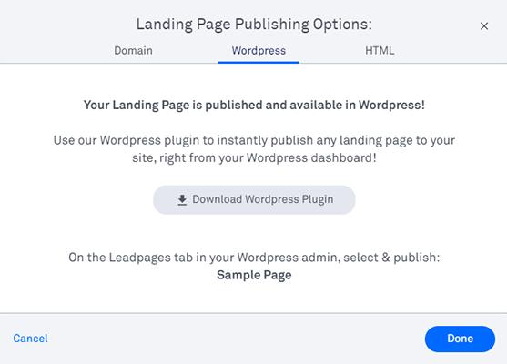 19 Landing page publishing options