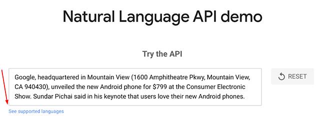 Google NLP API tool