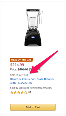 02 Amazon daily deals showing scarcity example