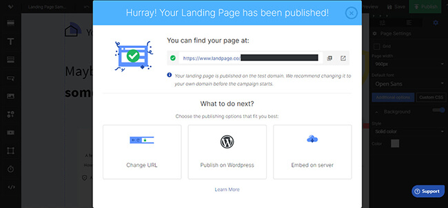 13 Published landing page