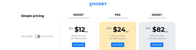 21 Shorby pricing