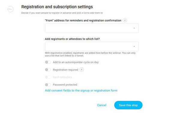 23 Registration and subscription settings