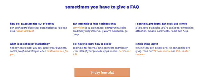 33 FAQ for customers Landing Page Practices