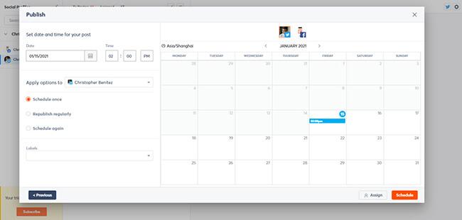AgoraPulse content calendar view