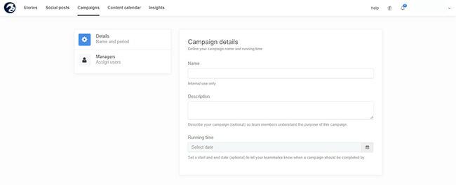 Enter details about campaign