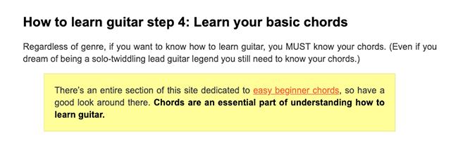 National Guitar Academy - Key Sub Topics