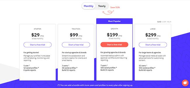 Sendible pricing