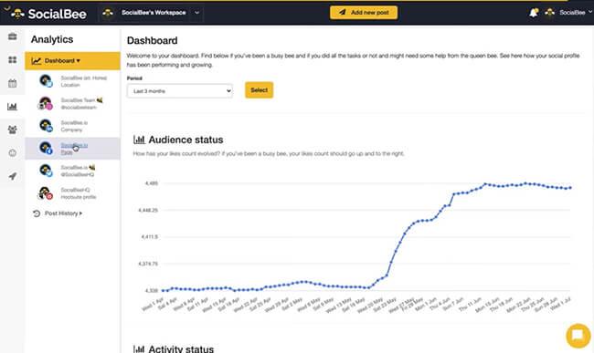 SocialBee analytics dashboard