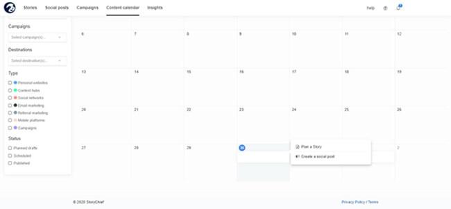 StoryChief content calendar