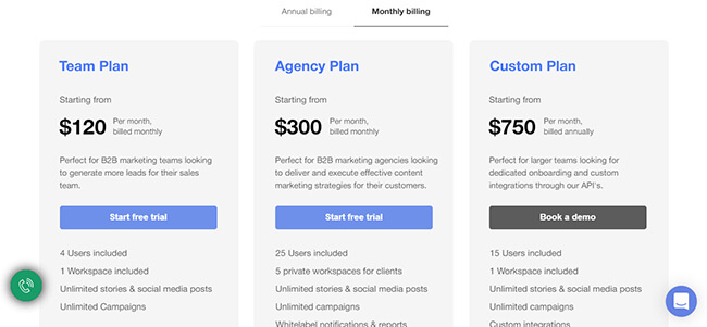 StoryChief pricing plans