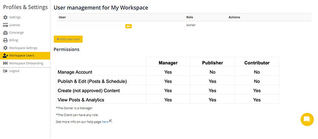 Workspace features