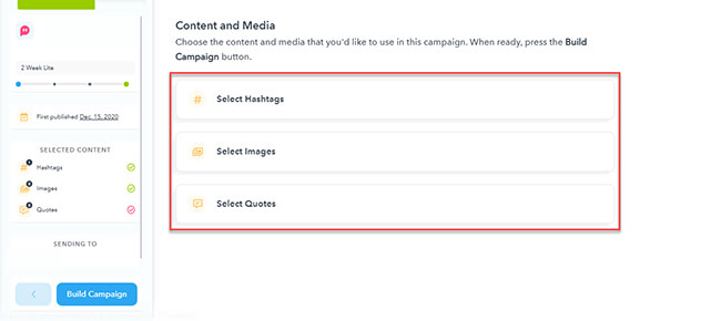 Edit hashtags images and quotes in your campaign