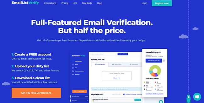 EmailListVerify Homepage