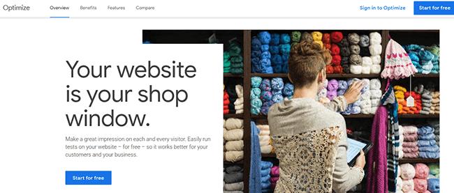 Google Optimize Homepage