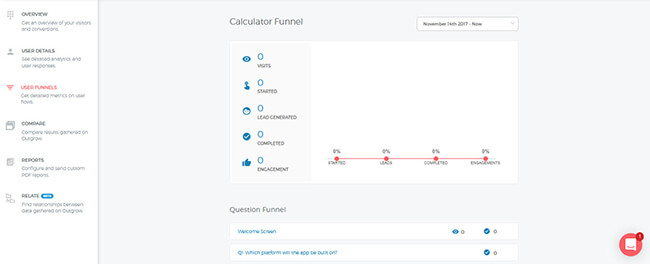 Outgrow user funnels