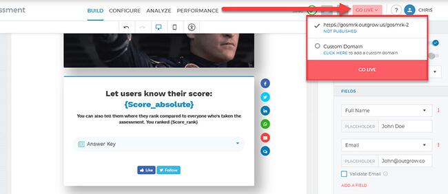 Quiz go live button