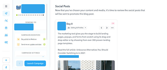 Social posts section review