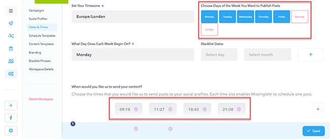 Under settings change publication times