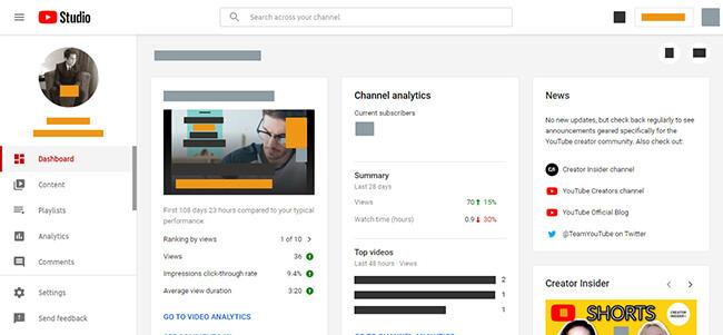 YouTube Studio Dashboard