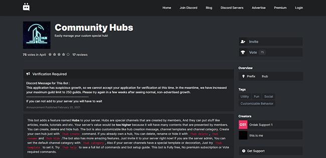 Community Hubs Homepage