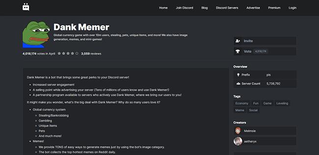 Dank Memer Homepage