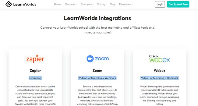LearnWorlds intgrations