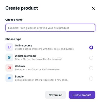 Podia - Create product