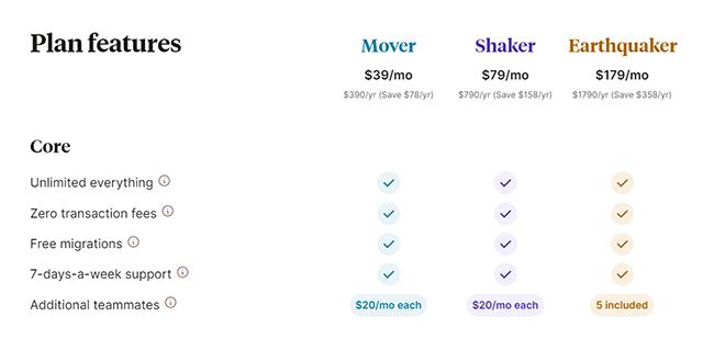 Podia pricing plans