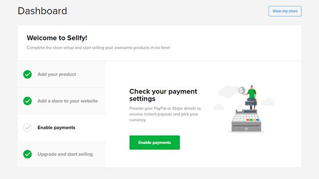 Sellfy interface
