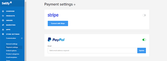Sellfy payment settings