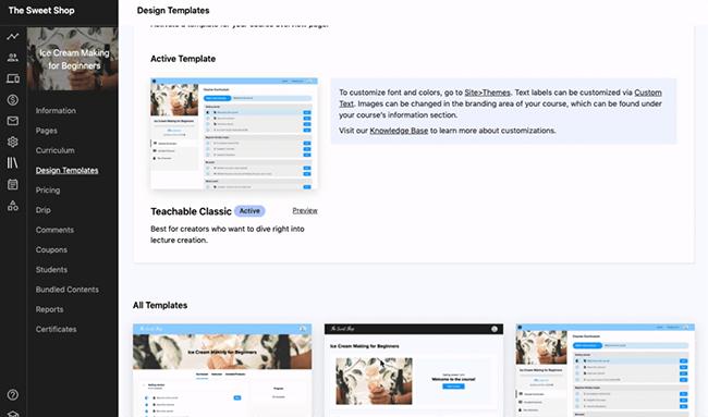 Teachable - Choose a template