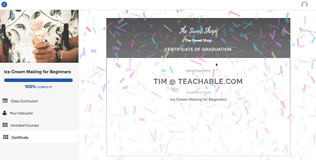 Teachable - Course completion certificates
