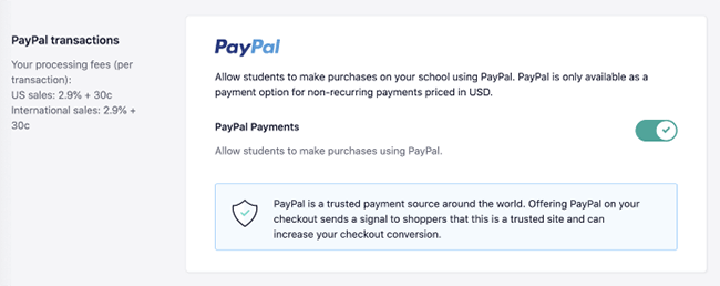 Teachable - Payment methods